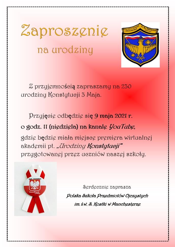 Zaproszenie na Akadmię 3 Maja